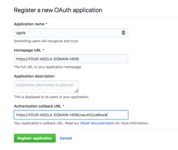 how to create oauth app in github
